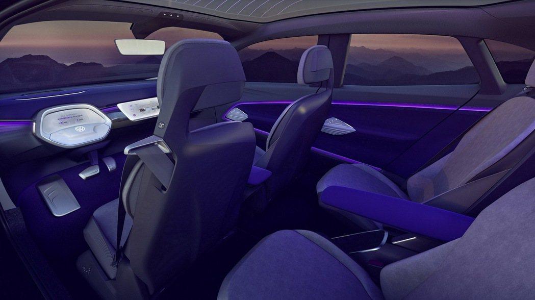 I.D. CROZZ概念車配備I.D. Pilot自動駕駛、手勢控制與車室動態氣氛燈等人性化科技,彰顯以人為本之創新造車理念。 圖/台灣福斯提供