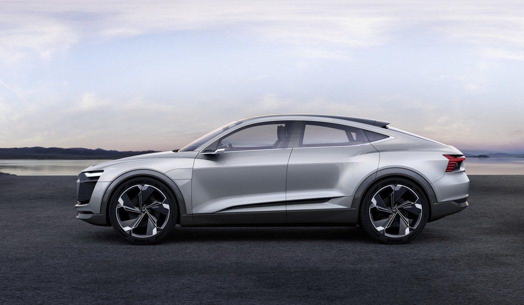 全新e-tron Sportback concept概念車運用最新的空氣力學設計,打造e-tron Sportback concept不可錯認的前衛面貌。 圖/台灣奧迪提供