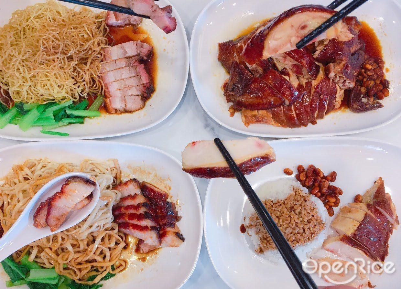 ▲四大招牌油雞、叉燒、燒肉和排骨,分別可搭配飯、撈麵、陽春麵等組合變化;也可選擇...