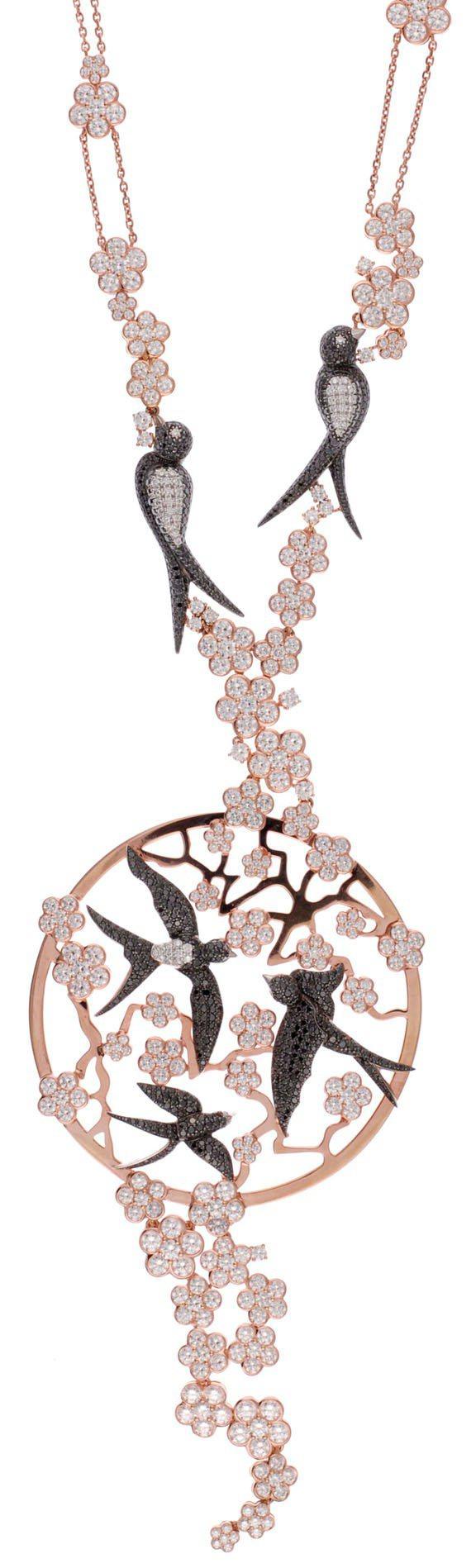 動物世界系列燕子項鍊,18K白金與玫瑰金鑲嵌696顆花式切割總重4.73克拉的黑...