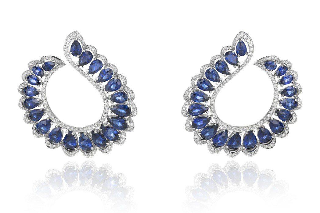 Precious Chopard系列耳環,18K白金鑲嵌40顆梨形切割總重16....