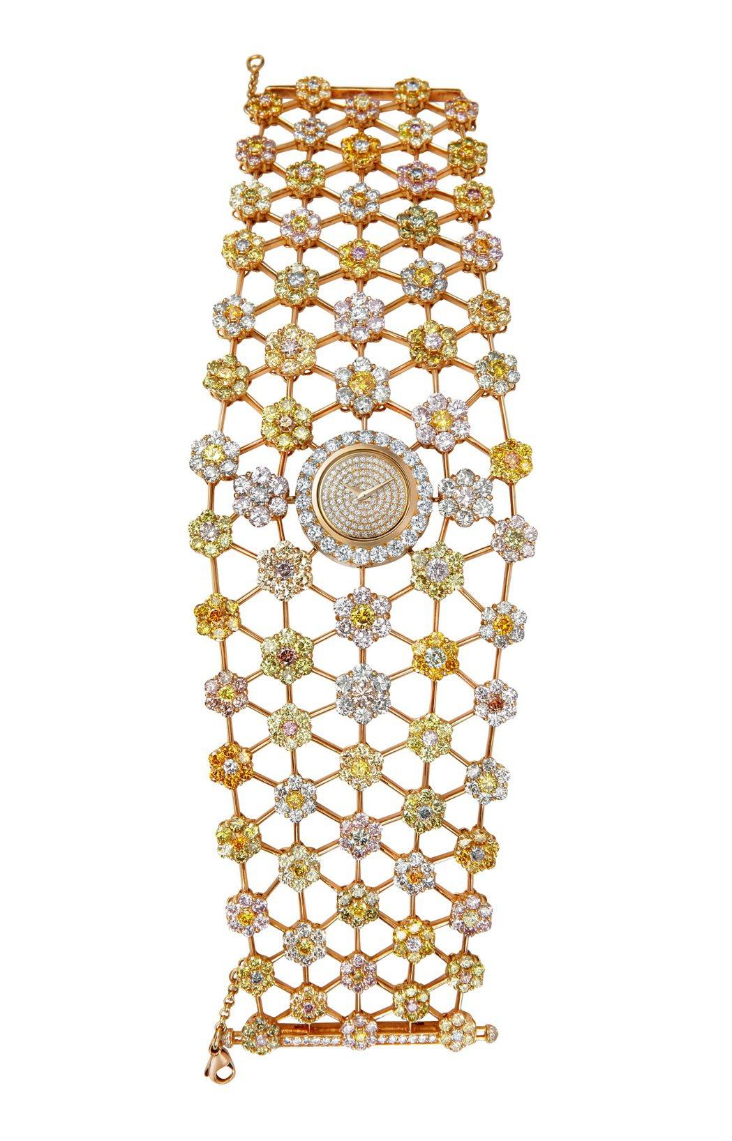 頂級珠寶系列18K玫瑰金表盤鑲嵌75顆總重0.48克拉鑽石,搭配492克拉總重4...