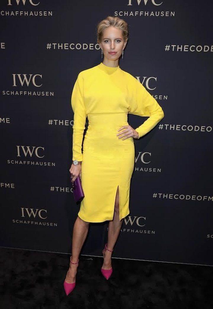 捷克超模Karolina Kurkova也穿過同件洋裝。圖/Ferragamo提...