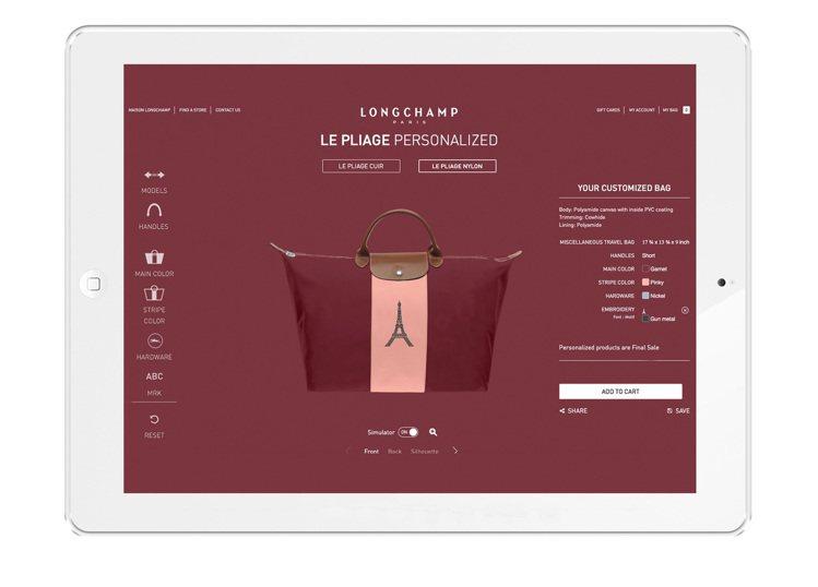 消費者可在Longchamp門市透過平板電腦,打造出獨一無二的專屬包款。圖/Lo...