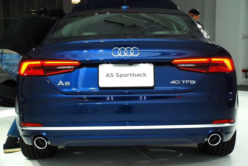 新世代Audi A5 Sportback Sport車尾。圖/記者林昱丞攝影