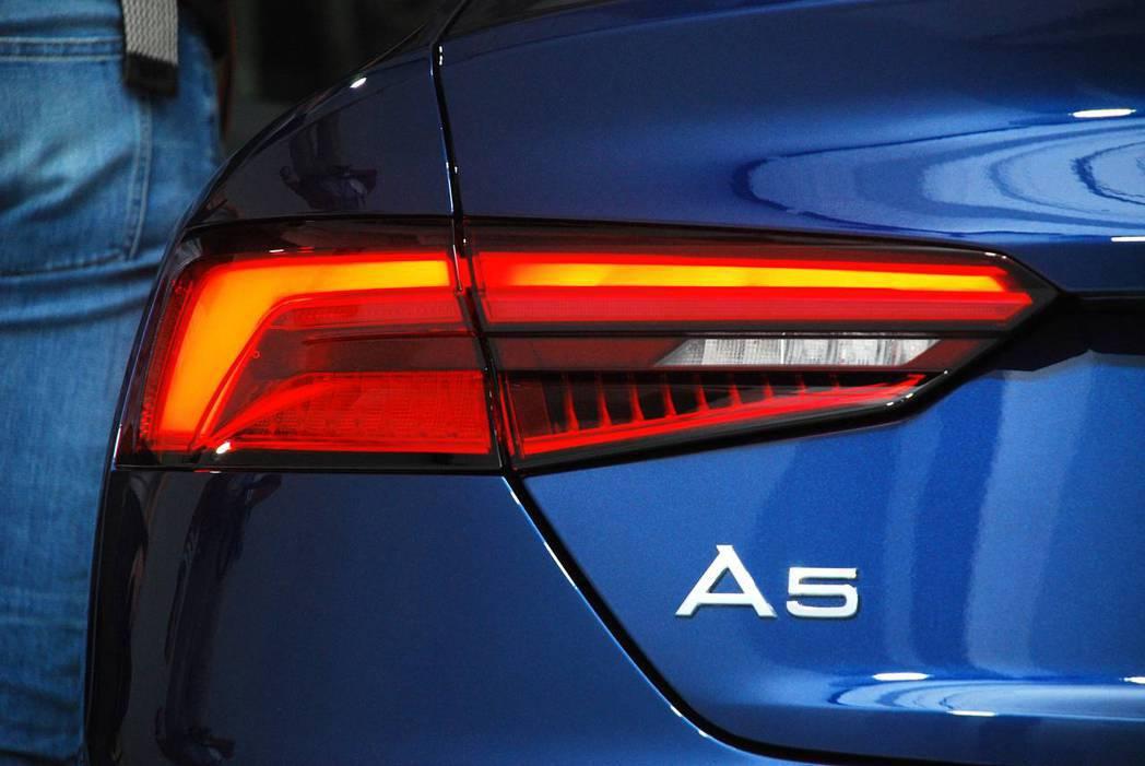 新世代Audi A5 Sportback Sport尾燈使用LED。圖/記者林昱丞攝影