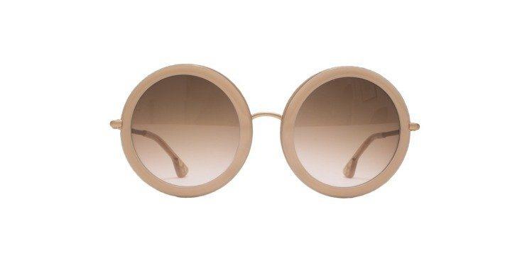 經典粉膚色圓框太陽眼鏡,12,900元。圖/Alice+Olivia提供