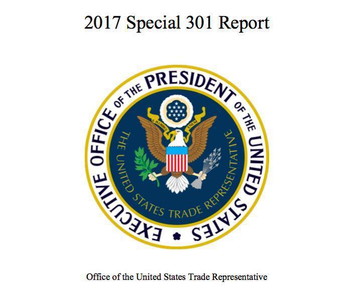 美國貿易代表署(USTR)28日公布2017年「特別301報告」。圖/截自UST...