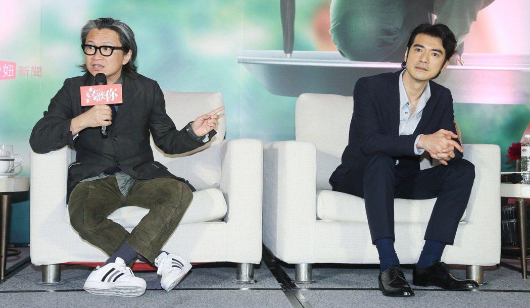 金城武(右)、監製陳可辛(左)昨天下午出席電影「喜歡你」記者會,在現場大談拍片花...