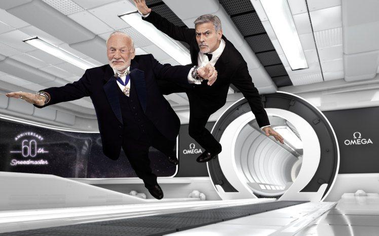 喬治庫隆尼與前太空人伯茲艾德林,一同為歐米茄Speedmaster超霸腕表誕生6...