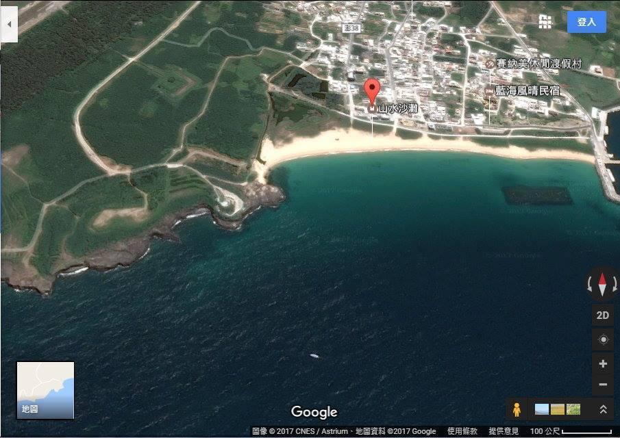 網友自Google Earth上擷取模擬漢光33號實兵操演從進攻方上空觀看的山水...
