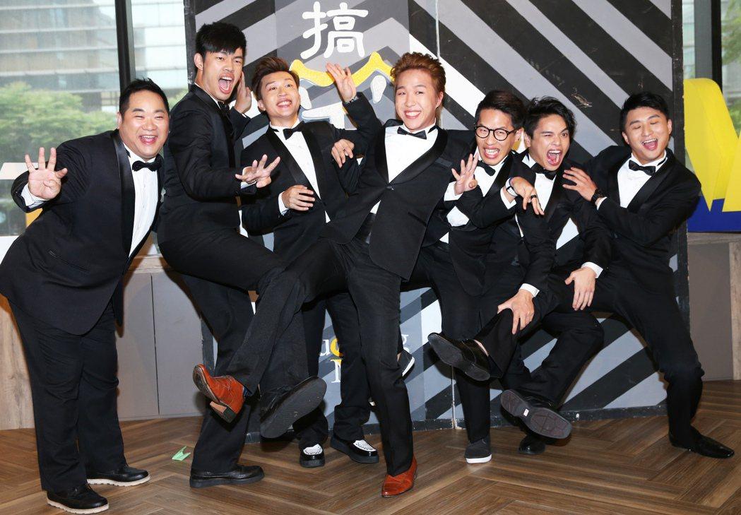 大寶(左起)、陳大天、張立東、大根、惡魔、林東續、阿量,出席舞台劇「搞笑者們Li...