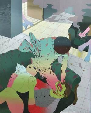 吳鎮宇《No,7》,壓克力顏料、版畫72.5x91。