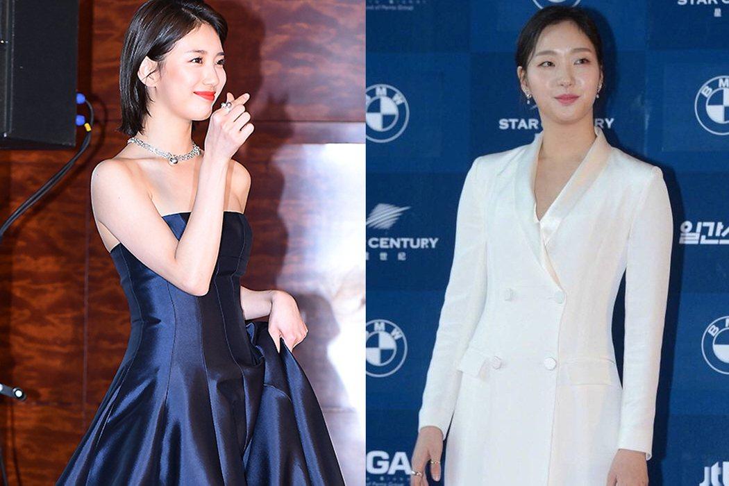 秀智(左)深藍禮服襯白皙美背,金高銀(右)白套裝緊包好樸素。 圖/摘自mydai