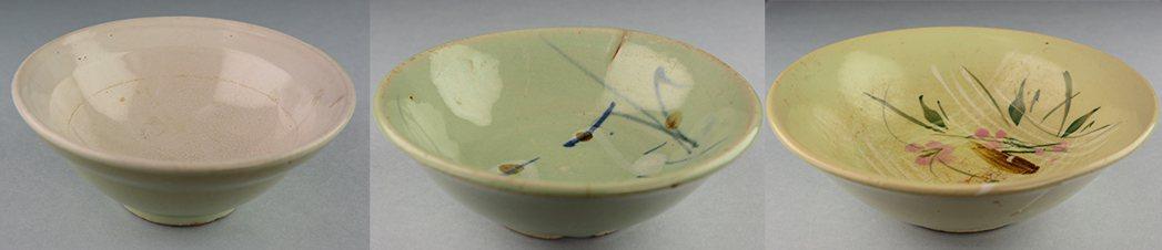 圖/(從左到右)白底綠釉碗、鳥紋綠釉碗、花卉紋綠釉碗
