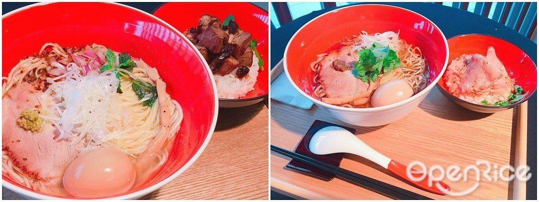 ▲Tsuta蔦主打招牌醬油拉麵(右)、及超人氣的鹽味拉麵兩款。