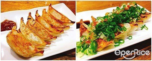 ▲(左)「濃厚味噌餃子」、(右)「香蔥澄醋餃子」,為日本一風堂招牌小點,將餃子搭...