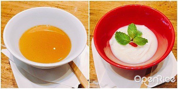 ▲來自日本一風堂的「國寶茶布丁」和「杏仁茶涼粉」,都是飯後必吃的完美甜點,將一風...