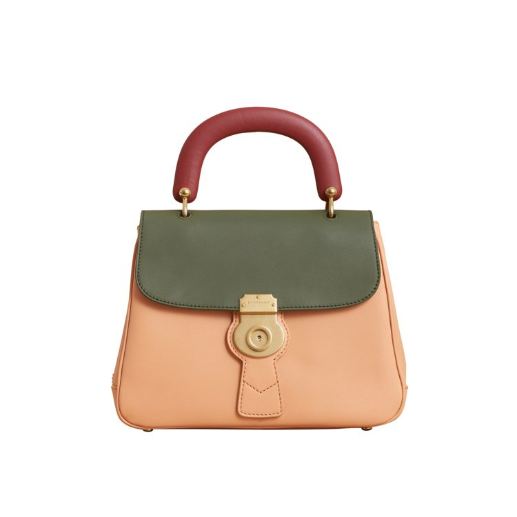 DK88淡柑橘色、青苔綠中型提柄包,售價86,000元。圖/BURBERRY提供