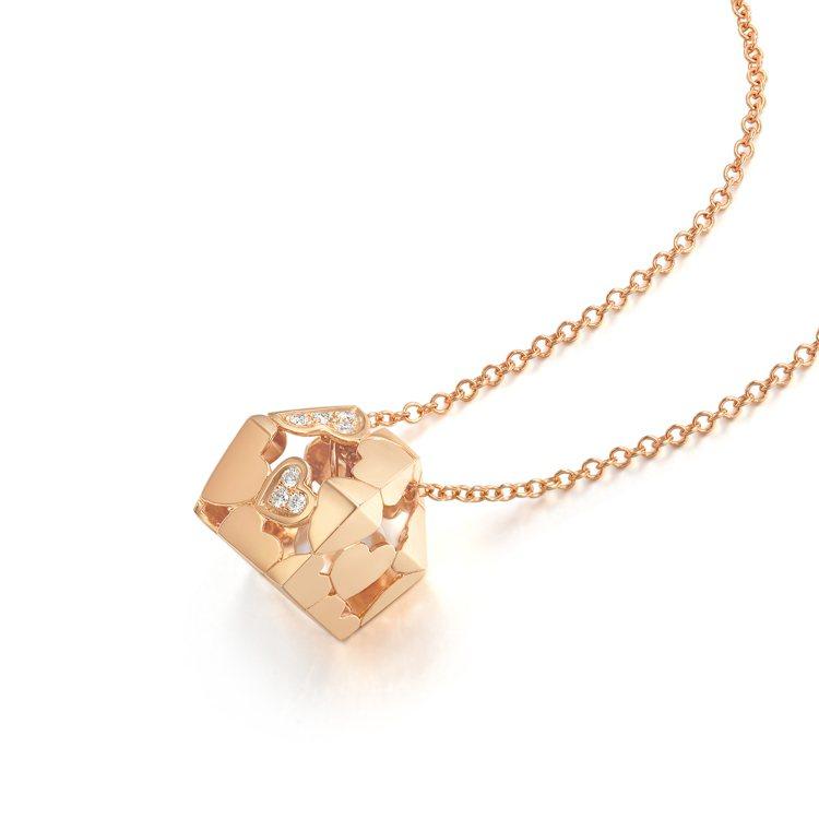 La Pelle 系列18K玫瑰金Akoya珍珠及鑽石項鍊,佈滿愛心的小屋內藏珍...