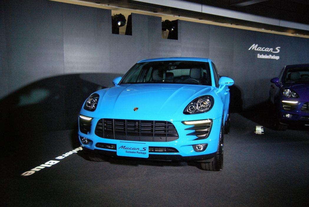圖為 Riviera Blue 海岸蔚藍車色的 Macan S Exclusive Package。 記者林鼎智/攝影