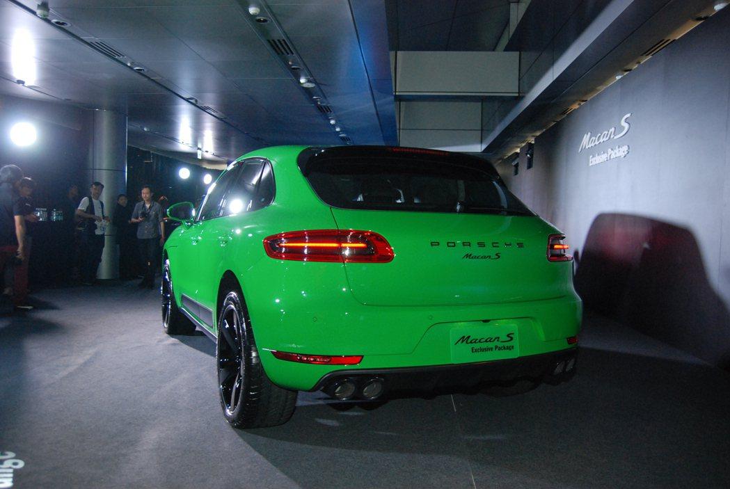 圖為 Viper Green 蝮蛇綠車色的 Macan S Exclusive Package。 記者林鼎智/攝影