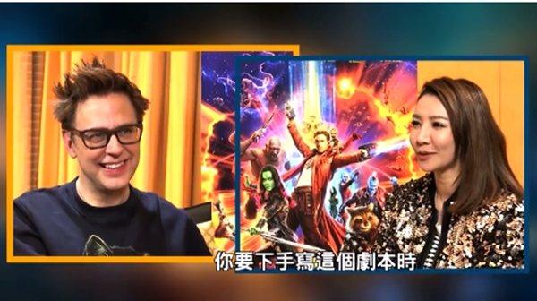 「星際異攻隊2」導演詹姆斯岡恩對簡立&#21894主播印象深刻。圖/摘自臉書