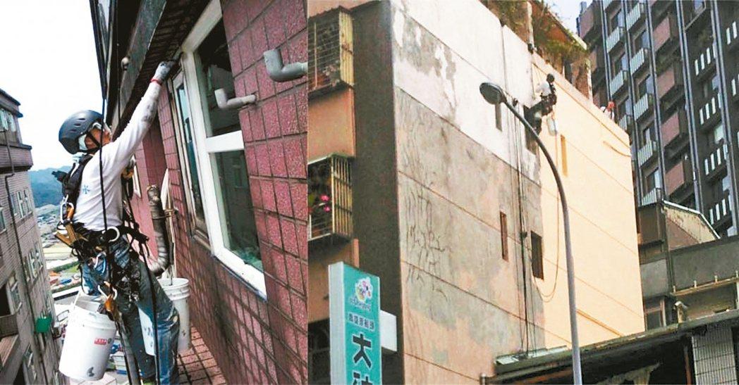 專業人員吊掛頂樓牆面,進行窗框與泥作接合處及外牆防水塗佈。 信義居家/提供