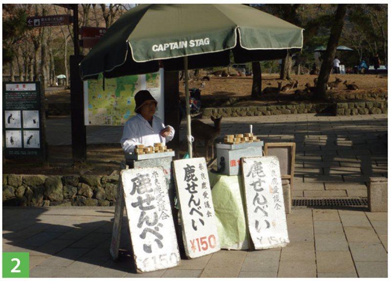 在公園裡隨處可見販售鹿仙貝的攤販。