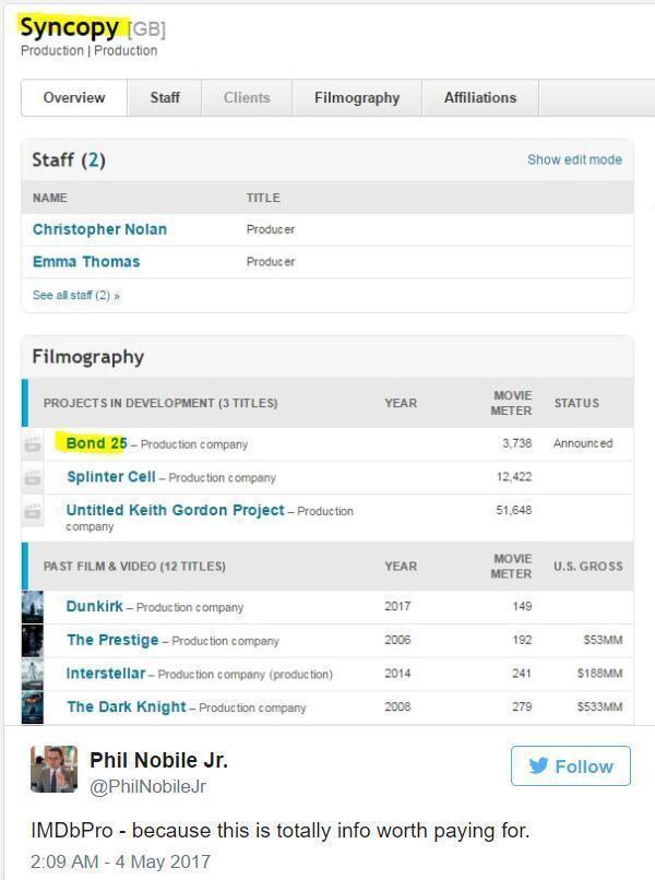 推特上有網友表示諾蘭的製片公司Syncopy疑似已經接下擔綱下部007電影的製片...