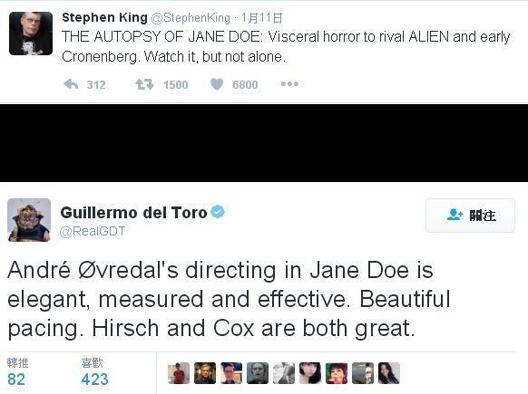 史蒂芬金與吉勒摩戴托羅推薦電影《驗屍官》。海樂提供