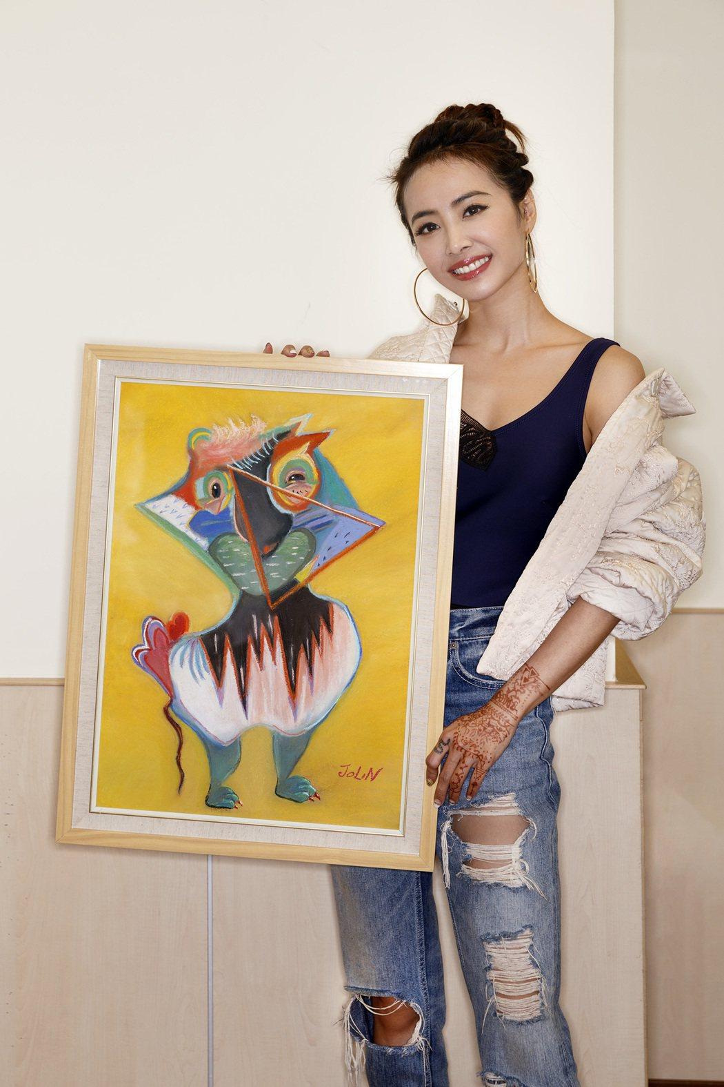 蔡依林愛心簽名畫作「你」,展覽現場競標義賣。圖/愛最大提供