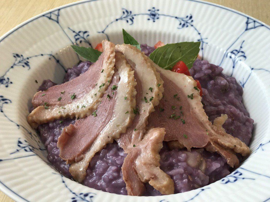 「皇家哥本哈根咖啡輕食複合店」5月限量餐點推出「紫薯燉飯佐櫻桃鴨」。 業者/提供