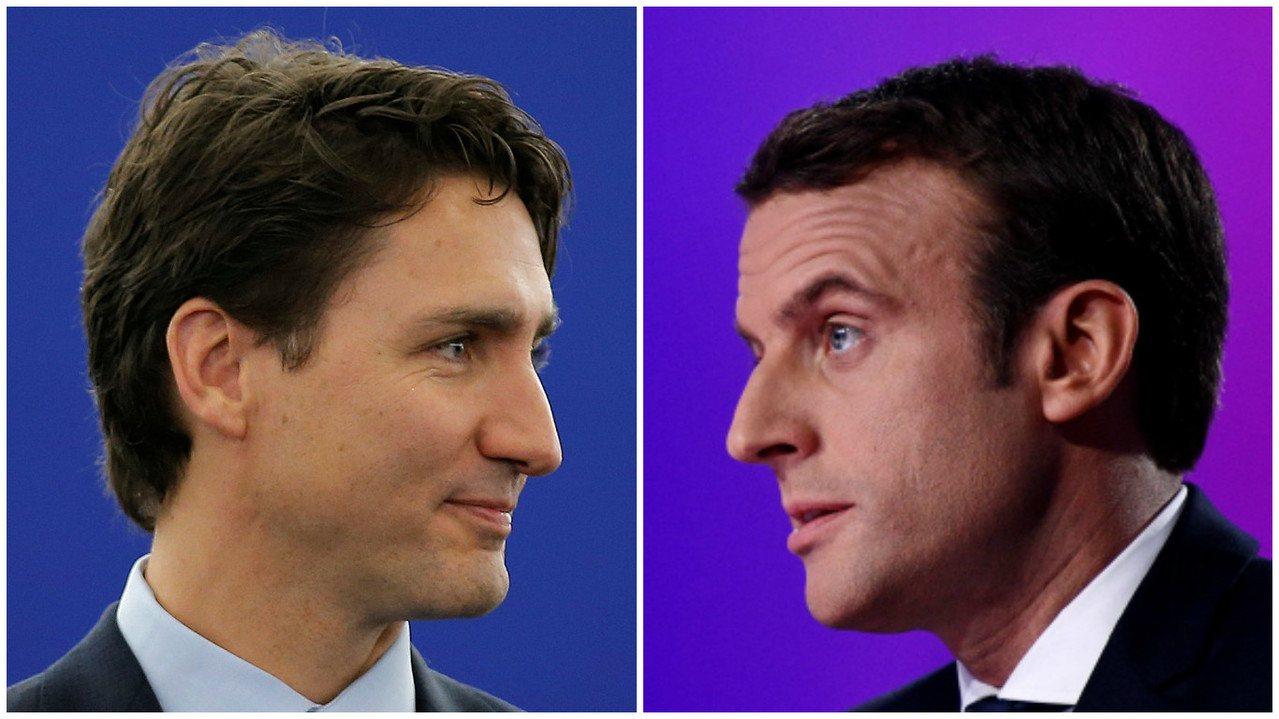中間派的馬克宏(右)順利選上法國總統,除了選舉本身,外國網民也在討論他是否比加拿...