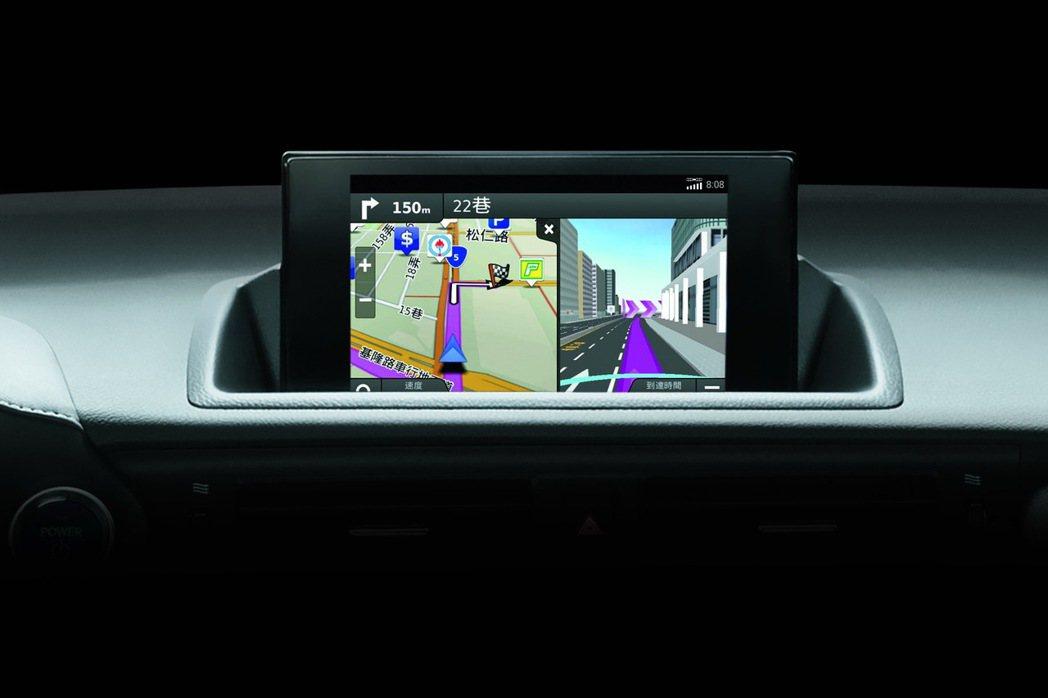 整合Garmin獨家導航介面,備有最新電子地圖資料庫、風景地標及生活資訊點。 圖/和泰汽車提供