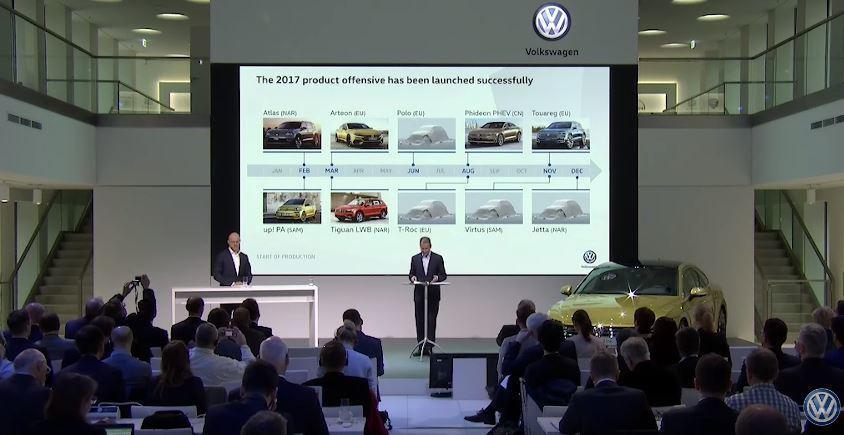 Volkswagen於德國狼堡(Wolfsburg)舉行的年度會議上公布今年下半年的新車生產時程! 摘自 Youtube