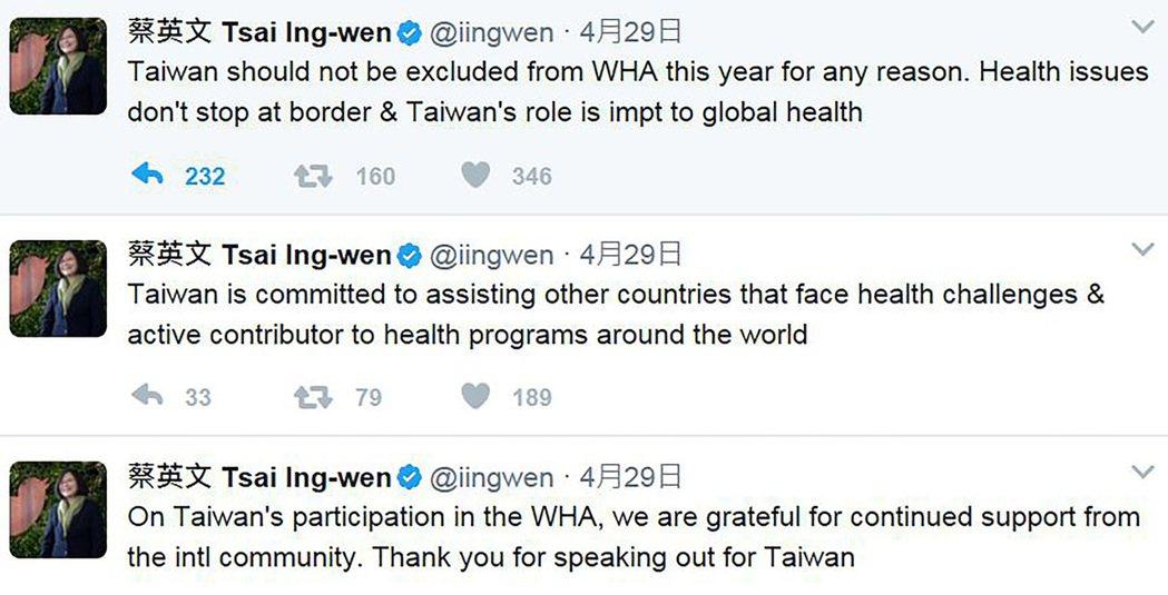 蔡英文總統透過社群網站推特發文,指「不得」因任何理由排除台灣參加WHA,健康問題...