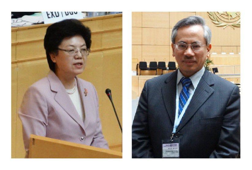 2013年5月21日,代表台灣參加WHA的衛生署長邱文達,和大陸新任國家衛生和計...