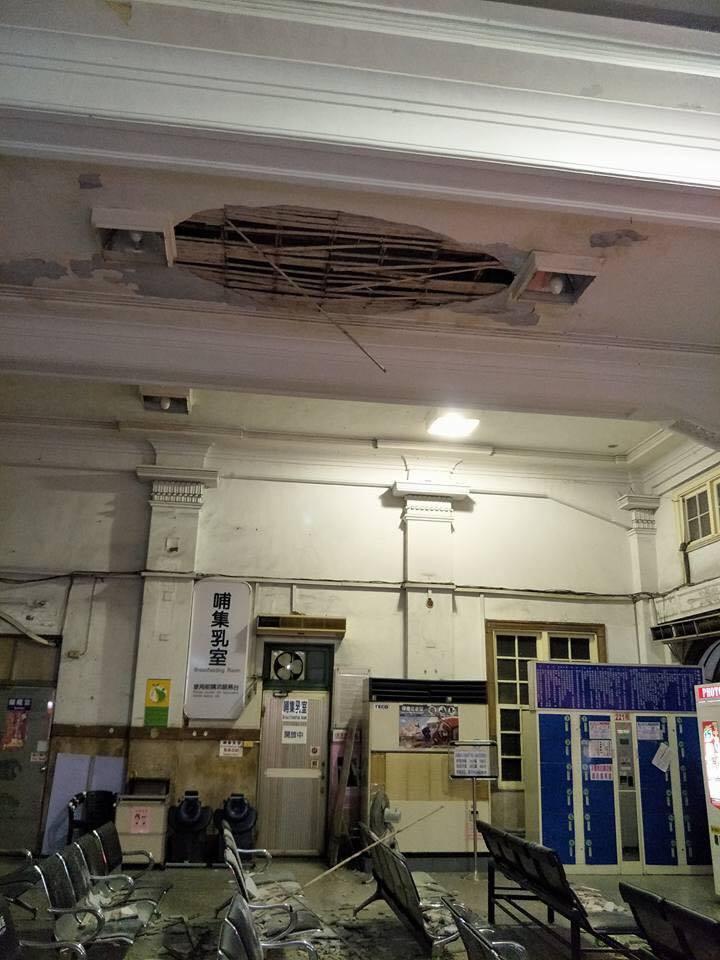台南火車站天花板崩落!砸傷兩名候車旅客