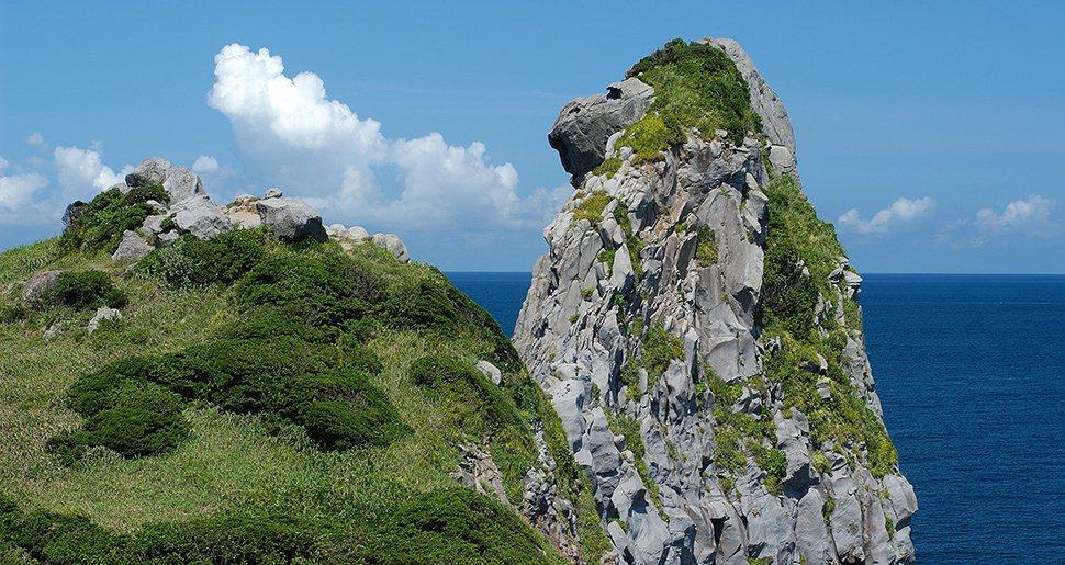 看到大猿了沒?玄界灘壹岐島西側的「猿岩」自然風化的玄武岩高達45公尺,看起來就像...
