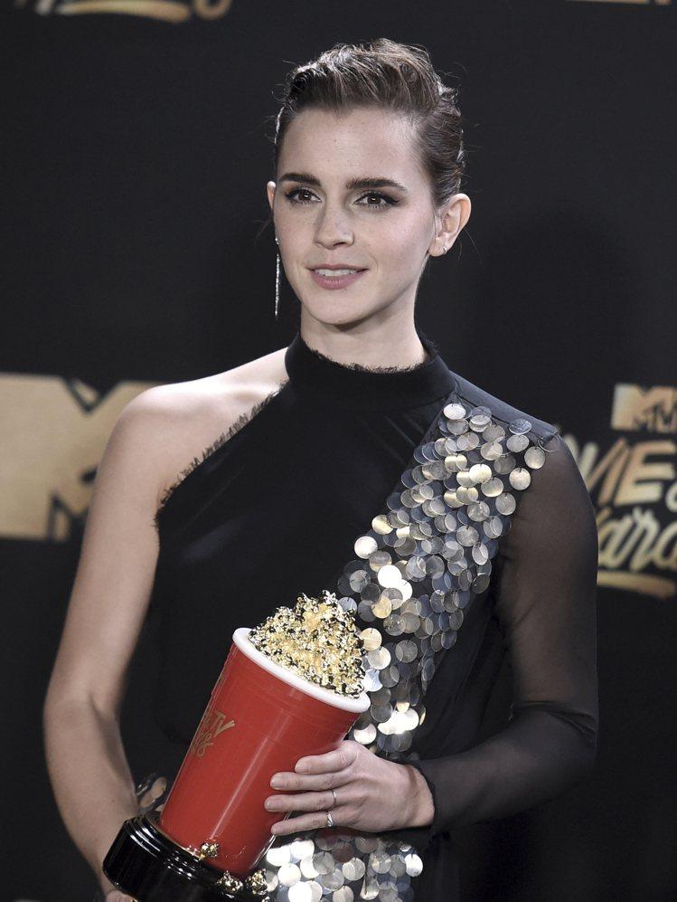 艾瑪華森《以美女與野獸》奪下2017 MTV電影電視獎「最佳演員」。圖/美聯社