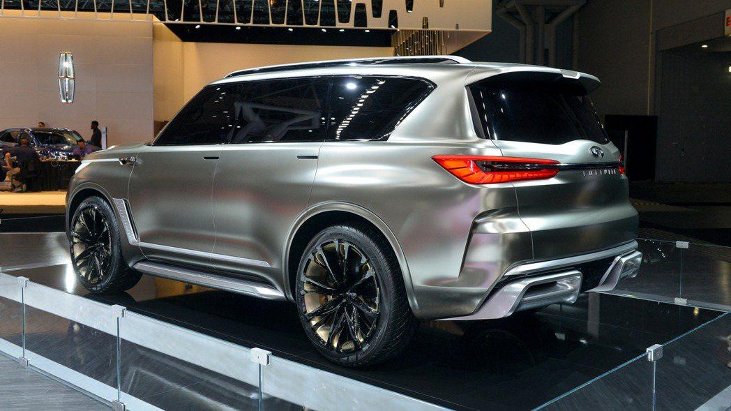 這部 Infiniti 全尺寸七人座豪華休旅車最快可於今年年底亮相。圖為 Infiniti QX80 Monograph Concept 概念車。 摘自 Motor1