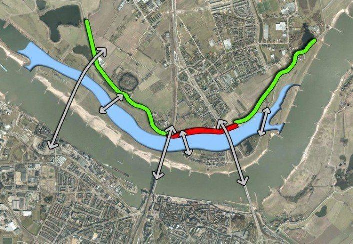 圖為荷蘭瓦爾河在奈梅亨市的規劃,其北岸原比鄰河道,退縮堤防並提供分洪空間後,河道有更大的空間與斷面容納洪水。 圖/取自city lab