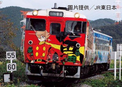 石之森章太郎的漫畫作品,共設計成4款列車,以2節車廂的普通列車形式營運。圖片提供...