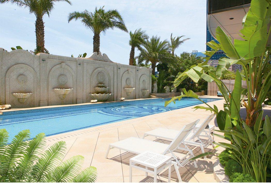 棕櫚庭園SPA泳池。 圖片提供/百立建設