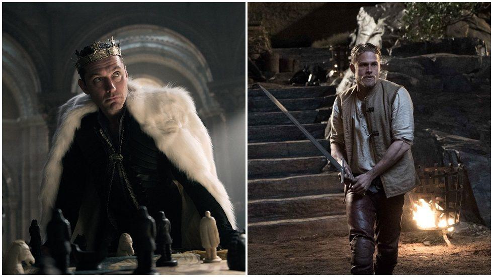 裘德洛(左)、查理漢納(右)在「亞瑟:王者之劍」有精采對決。圖/華納兄弟提供