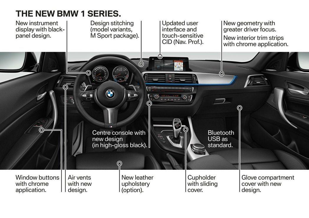 小改款BMW 1-Series內裝增加了這些配備。圖/BMW提供
