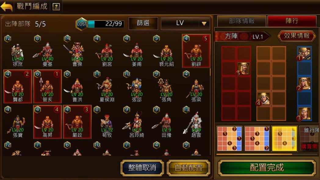 武將配置與佈陣方式將影響遊戲局面。
