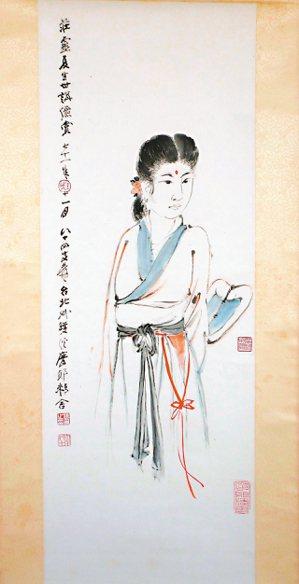 圖六:1982年,張大千先生繪贈陳夏生的仕女圖。 莊靈 圖片提供