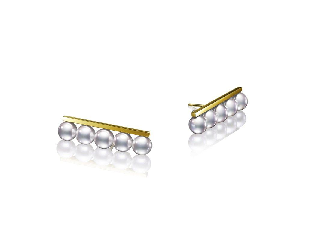 TASAKI balance plus珍珠黃K金耳環,58,800元。圖/TAS...